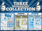 Edição especial de três infográfico coleção — Vetor de Stock