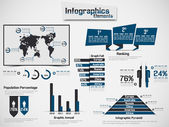 INFOGRAPHIC DEMOGRAPHIC ELEMENT WEB NEW STYLE BLUE — Stock Vector