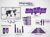 INFOGRAPHIC DEMOGRAPHIC ELEMENT WEB NEW STYLE PURPLE — Stock Vector