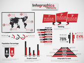 INFOGRAPHIC DEMOGRAPHIC ELEMENT WEB NEW STYLE RED — Stock Vector