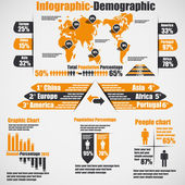 INFOGRAPHIC DEMOGRAPHIC NEW STYLE 10 ORANGE — Stock Vector