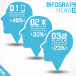 INFOGRAPHIC HEAD BLUE — Stockvectorbeeld