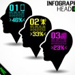 INFOGRAPHIC HEAD BLACK — Stockvectorbeeld