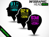 INFOGRAPHIC HEAD BLACK — Stock Vector