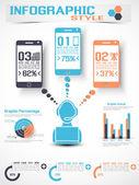 Infographic modern tarzı mobil — Stok Vektör