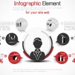 INFOGRAPHIC MODERN PEOPLE BUSINESS NEW STYLE  RED — Grafika wektorowa