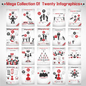 MEGA COLLECTIONS OF TEN MODERN ORIGAMI BUSINESS ICON MAN STYLE OPTIONS BANNER 3 RED — Vector de stock