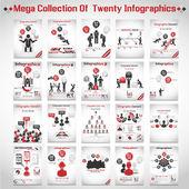 Mega zbiór dziesięciu nowoczesny biznes ikona człowiek styl opcje baner 3 czerwone — Wektor stockowy