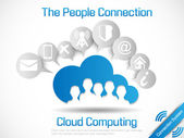 Connetting gente de mundo de la computación en nube — Vector de stock
