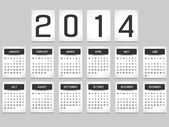 CALENDAR 2014 SIMPLE TEXT BACKGROUND BLACK — Stock Vector