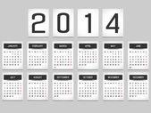 CALENDAR 2014 SIMPLE TEXT BACKGROUND BLACK — Stockvector