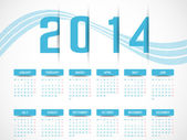 CALENDAR 2014 SIMPLE TEXT BACKGROUND BLUE — Stock Vector
