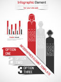 INFOGRAPHIC NUMBER OPTIONS HUMAN TEMPLATE NEW STYLE RED — Stok Vektör