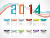 CALENDAR 2014 SIMPLE TEXT BACKGROUND MULTICOLOR — Stock Vector