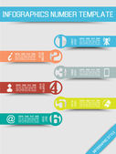 INFOGRAPHIC NUMBER OPTIONS TEMPLATE NEW STYLE 4 MULTICOLOR — Stock Vector