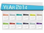 CALENDAR 2014 SIMPLE TEXT BACKGROUND MULTICOLOR 2 — Stock Vector