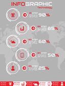 Tecnology žebříček infographic červený — Stock vektor