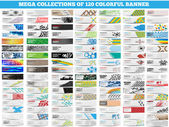 MEGA COLLECTION OF 120 COLORFUL BANNER — Stock Vector