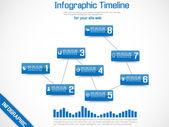 Infographik zeitachse grafik blau — Stockvektor
