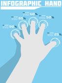 Infographic hand ranking blå — Stockvektor