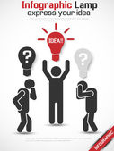 INFOGRAPHIC MAN IDEA RED — Stock Vector