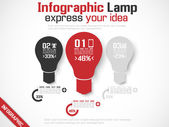 INFOGRAPHIC LAMP IDEA 3 RED — Stock Vector