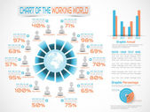 INFOGRAPHIC WORKERS IN THE WORLD BLUE — Stok Vektör