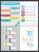 COLLECTION INFOGRAPHIC NUMBER TEMPLATE TIMELINE PROGRESSIVE 2 — Stock Vector