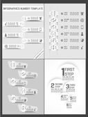 COLLECTION INFOGRAPHIC NUMBER TEMPLATE TIMELINE PROGRESSIVE — Stock Vector