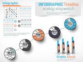 Plansza osi czasu analogowy stoper — Wektor stockowy