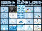 MEGA COLLECTION OF TWENTY CLOUD INFOGRAPHICS — Stock Vector