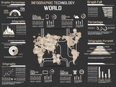 INFOGRAPHIC COLLECTION ELEMENT TECHNOLOGY WORLD BROWN — Stock Vector
