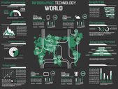 INFOGRAPHIC COLLECTION ELEMENT TECHNOLOGY WORLD GREEN — Stock Vector