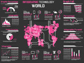 INFOGRAPHIC COLLECTION ELEMENT TECHNOLOGY WORLD PINK — Stock Vector