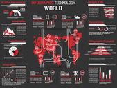 Vermelha mundo infográfico coleção elemento tecnologia — Vetorial Stock