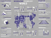 INFOGRAPHIC COLLECTION ELEMENT TECHNOLOGY WORLD VIOLET — ストックベクタ