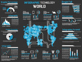 INFOGRAPHIC COLLECTION ELEMENT TECHNOLOGY WORLD — ストックベクタ