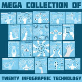 MEGA COLLECTION OF TWENTY INFOGRAPHIC TECHNOLOGY — Stock Vector