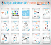 MEGA COLLECTION OF FIFTEEN TIMELINE — Stock Vector