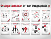 MEGA COLLECTION OF TEN INFOGRAPHIC BUSINESS RED — Stock Vector
