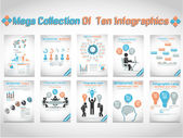 MEGA COLLECTION OF TEN INFOGRAPHIC BUSINESS — Stock Vector