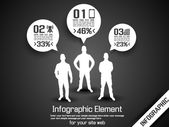 BUSINESS MAN INFOGRAPHIC OPTION THREE 2 GREY — Vettoriale Stock
