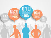 BUSINESS MAN INFOGRAPHIC OPTION THREE 3 ORANGE — Stock Vector
