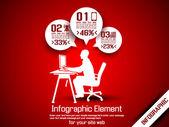 BUSINESS MAN INFOGRAPHIC OPTION THREE 8 RED — 图库矢量图片