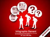 Opción de negocio hombre infografía tres 10 rojo — Vector de stock