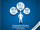 BUSINESS MAN INFOGRAPHIC OPTION THREE 6 — 图库矢量图片