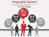BUSINESS MAN MODERN INFOGRAPHIC RED — Stock Vector