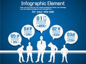 Negocio hombre moderno infografía azul — Vector de stock