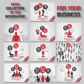 MEGA COLLECTION OF TEN BUSINESS MAN INFOGRAPHIC RED NEW — Stockvektor