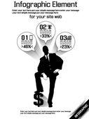Negócios homem moderno infográfico preto 9 — Vetorial Stock